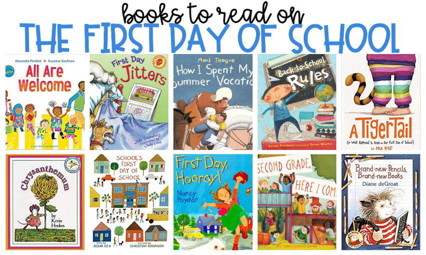 What is the first book you read aloud to your students on the first day of school? In the past, my go-to picture book has been First Day Jitters by Julie Danneberg. However, that book's popularity has soared immensely in the past few years and many of the students are familiar with it. There's nothing wrong with reading it to them again. After all, they haven't heard ME read it, but I think it's important to have a few alternatives available. Here are some great books to have on hand for the first day of school!